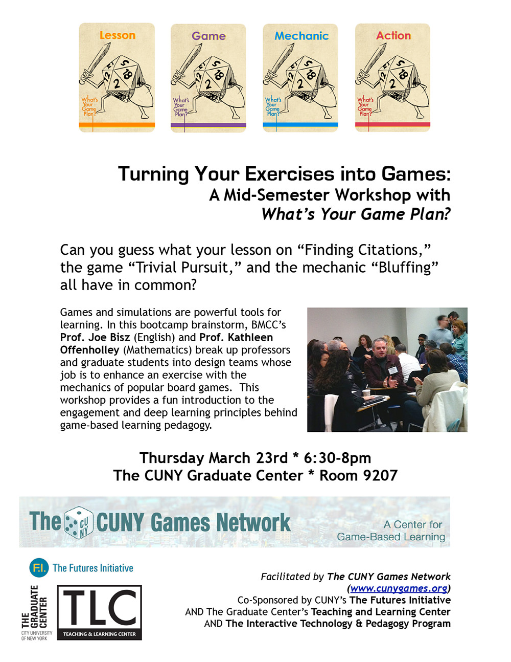 Turning Your Exercises into Games:<br>A Mid-Semester Workshop with What's Your Game Plan? 2