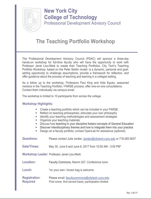PDAC: Teaching Portfolio 3-day Workshop 1