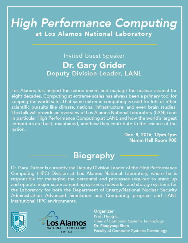 High Performance Computing at Los Alamos Laboratories with Guest Speaker Dr. Gary Grider 1