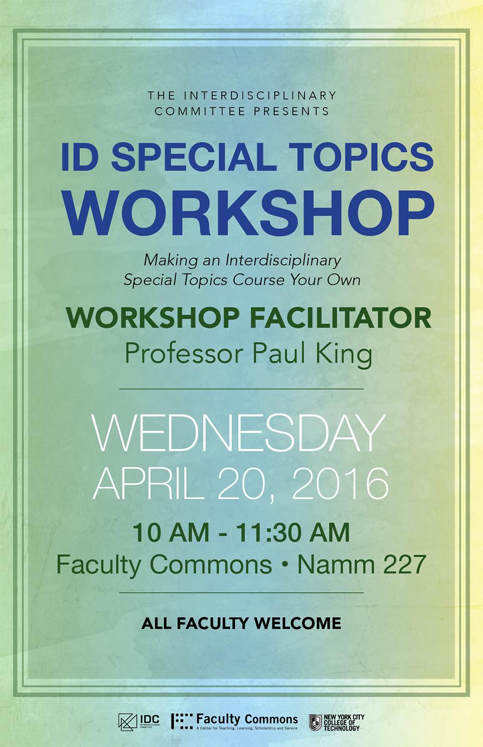 ID Special Topics Workshop 1