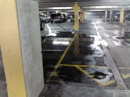 Parkade leak - this garage membrane had failed.