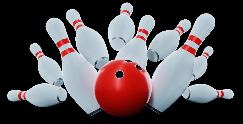 bowling ball striking bowling pins