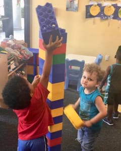 children playing with blocks at the toddler club, science, scientific discovery