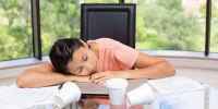Woman napping at desk