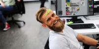 Man goofing off at work