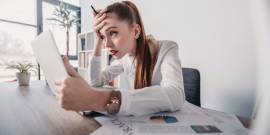woman annoyed at work