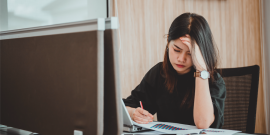 Woman sad at work