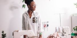 millennial designer sewing