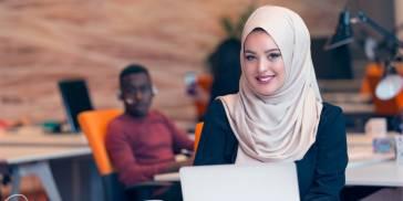 Muslim woman at work