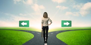 Woman on diverging path