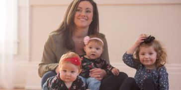 Katie Ockerman, a financial center manager for Fifth Third Bank, and daughters, Naomi, 2; and 10-month old twins, Cora and Madilyn. Photo courtesy of Fifth Third Bank