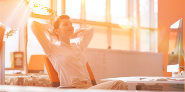 Relaxed woman at work