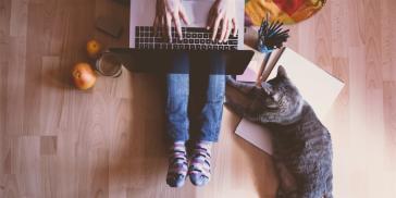 Freelancer working on her laptop