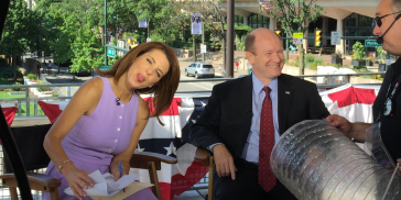 Stephanie Ruhle sticking out her tongue