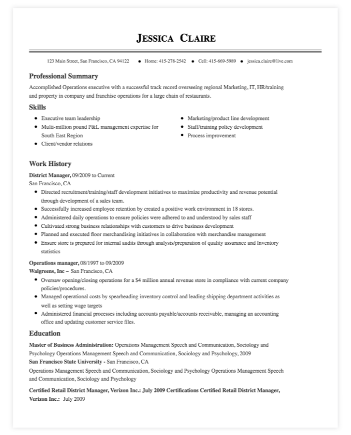 MyPerfectResume's resume template