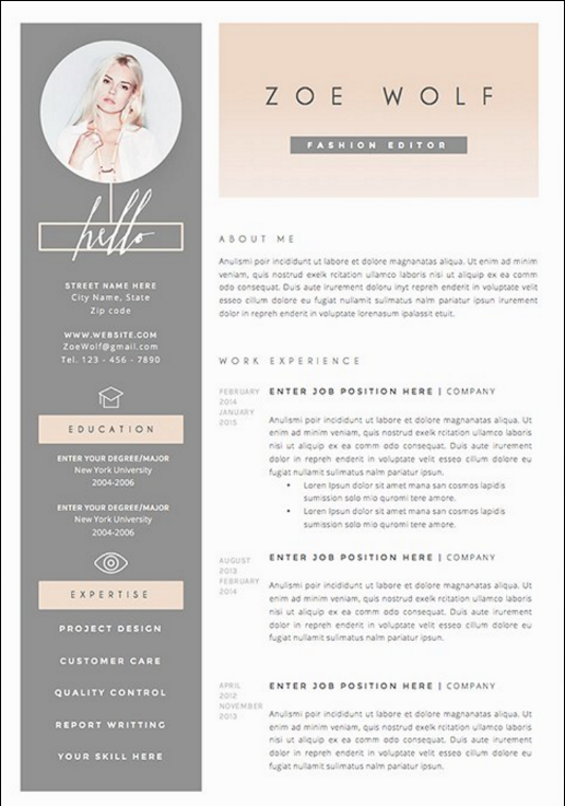 CreativeMarket resume template