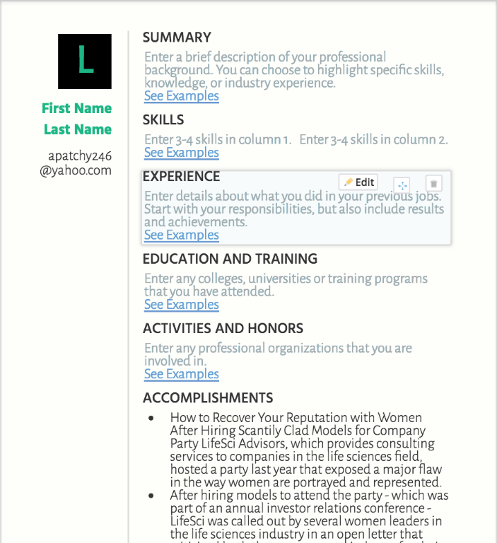ResumeNow resume template