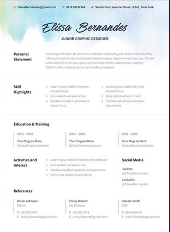 Etsy resume template