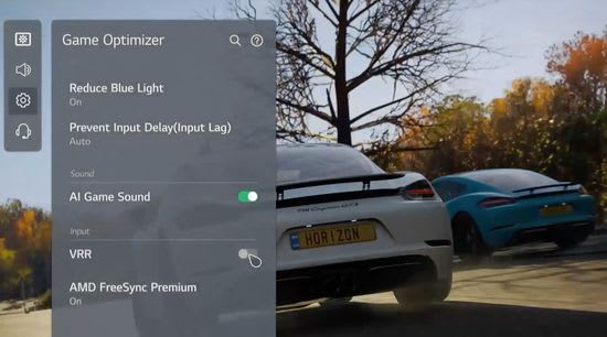 LG Game Optimizer on-screen display