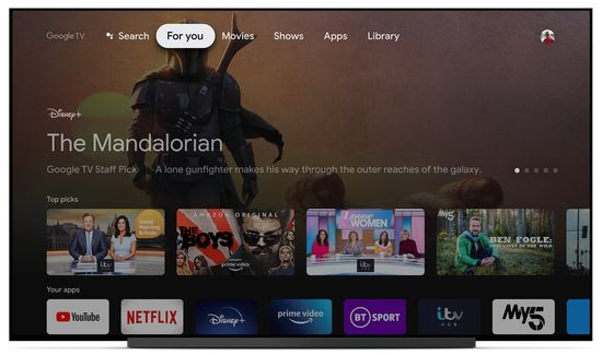Google TV For You section