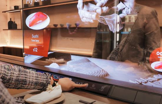 LG Smart Restaurant transparent display