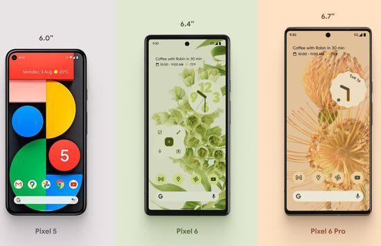 Google Pixel 5 vs 6 vs 6 Pro screen size