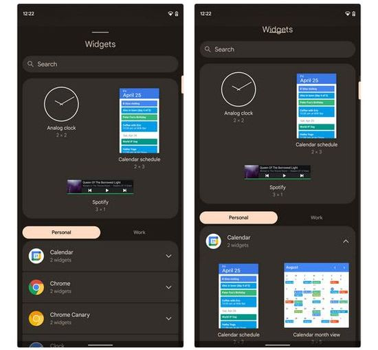 Android 12 widget UI