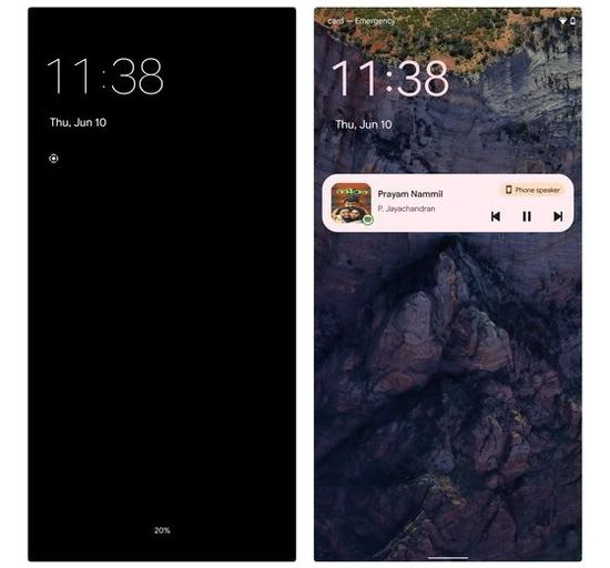 Android 12 lockscreen with notifications