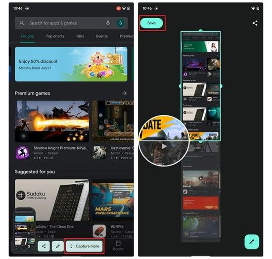 Android 12 scrolling screenshots