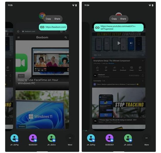 Android 12 Share Links from Recent Apps Switcher