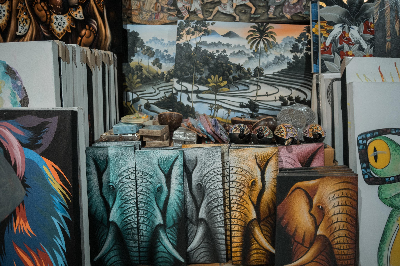 ubud traditional art market paintings