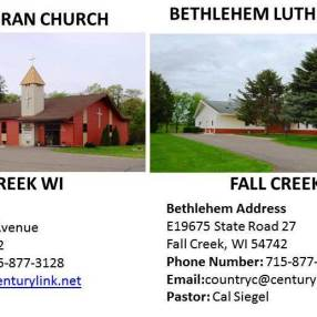 Bethlehem Lutheran Church in Fall Creek,WI 54742