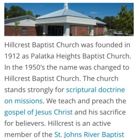 Hillcrest Baptist Church in Palatka,FL 32177
