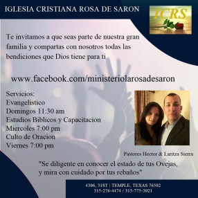 Iglesia Cristiana Rosa de Saron, Temple TX in Temple,TX 76502