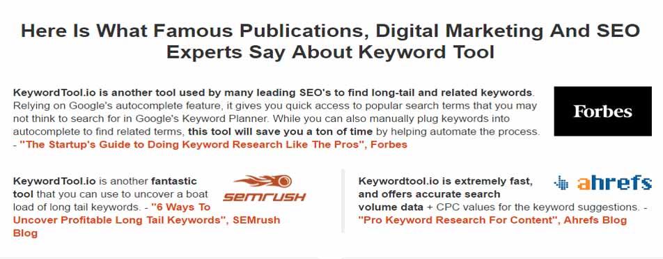 KeywordTool Pro Testimonials
