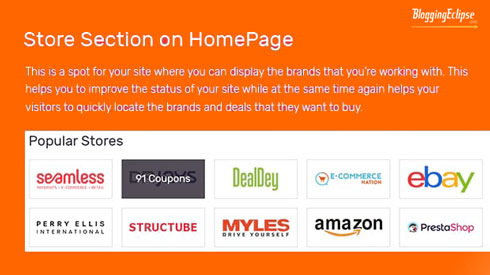 Featured Store section on home page