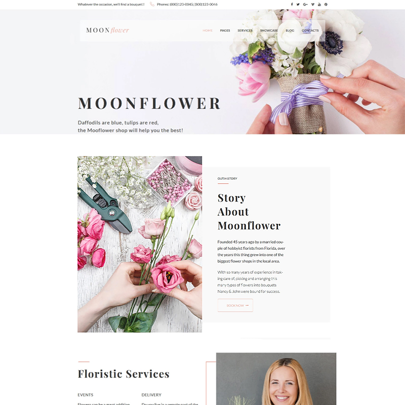 Moon Flower - Flower Shop WordPress Theme