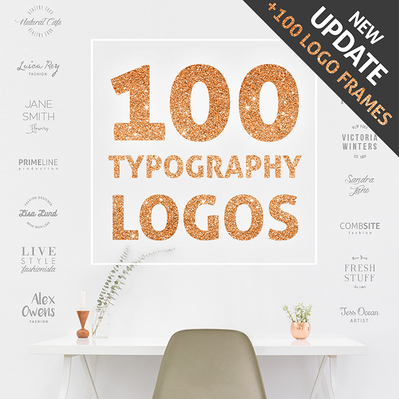 100 Typography Logos + 100 Frames Bundle
