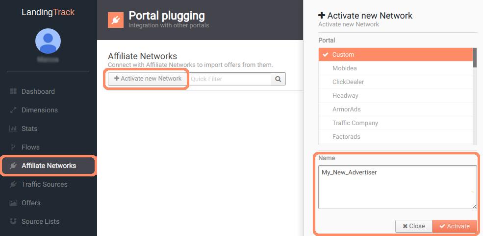 Add Affiliate Networks