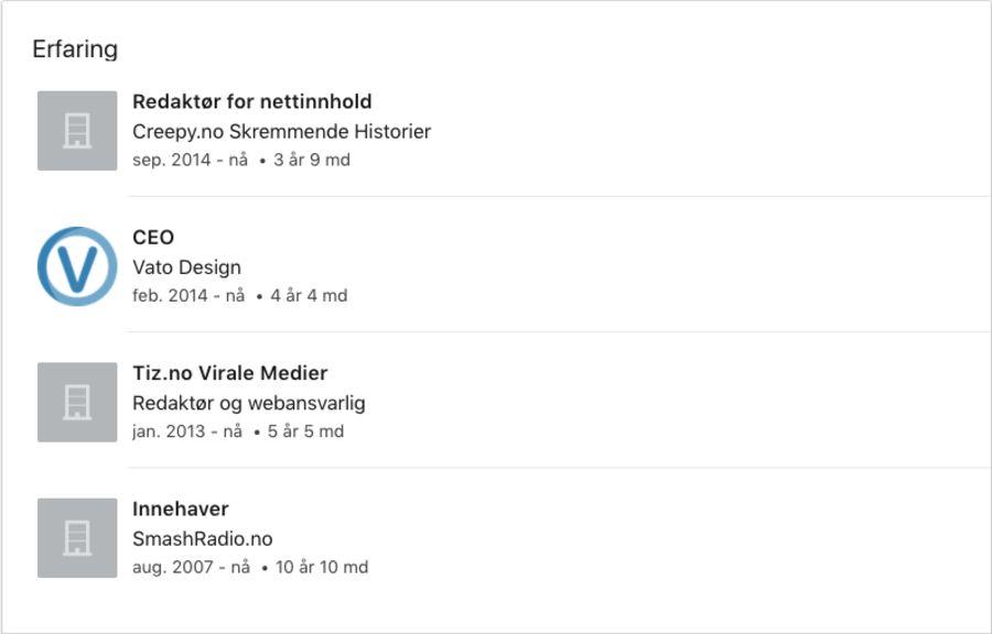 Slik ser LinkedIn-profilen til eieren av Vato Design ut.