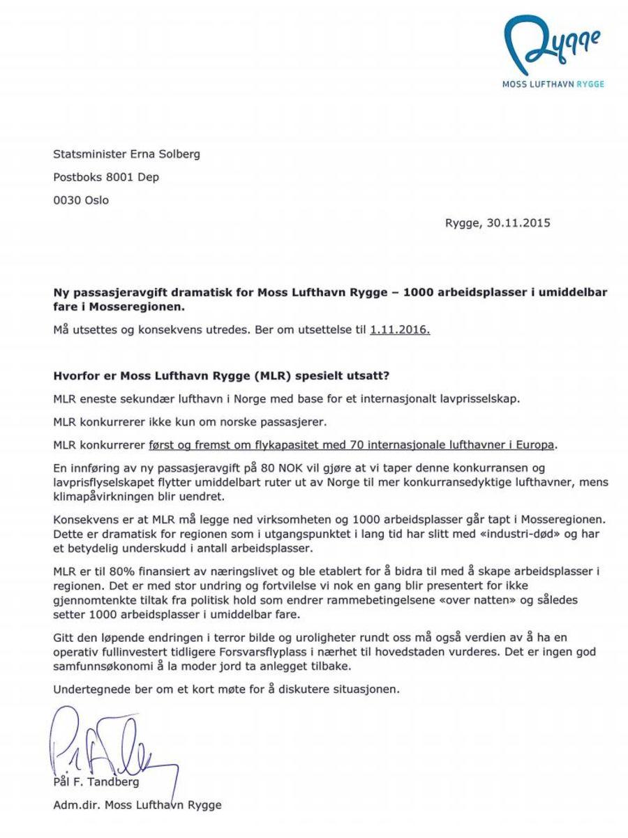 Brev til Erna Solberg fra Rygge sivile lufthavn nov 2015