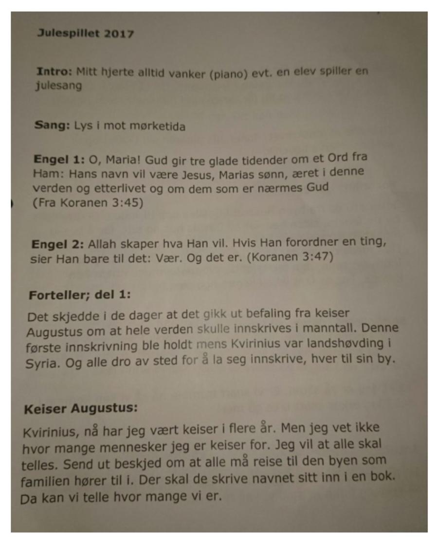 Utdrag av manus fra julespill ved Stigeråsen skole.