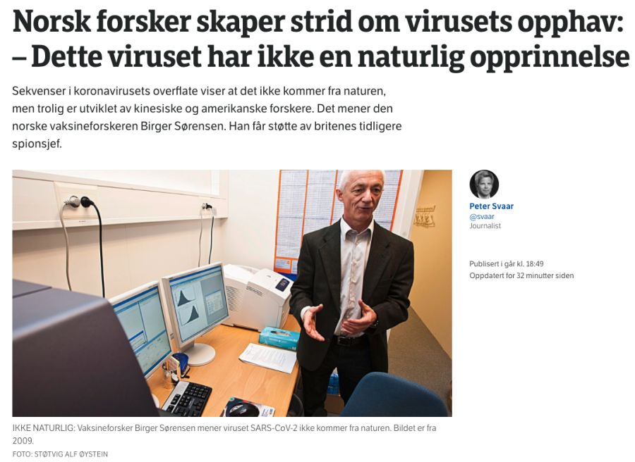 Norsk Forsker Har Ikke Dokumentert At Koronaviruset Ble Skapt I Laboratorium Faktisk