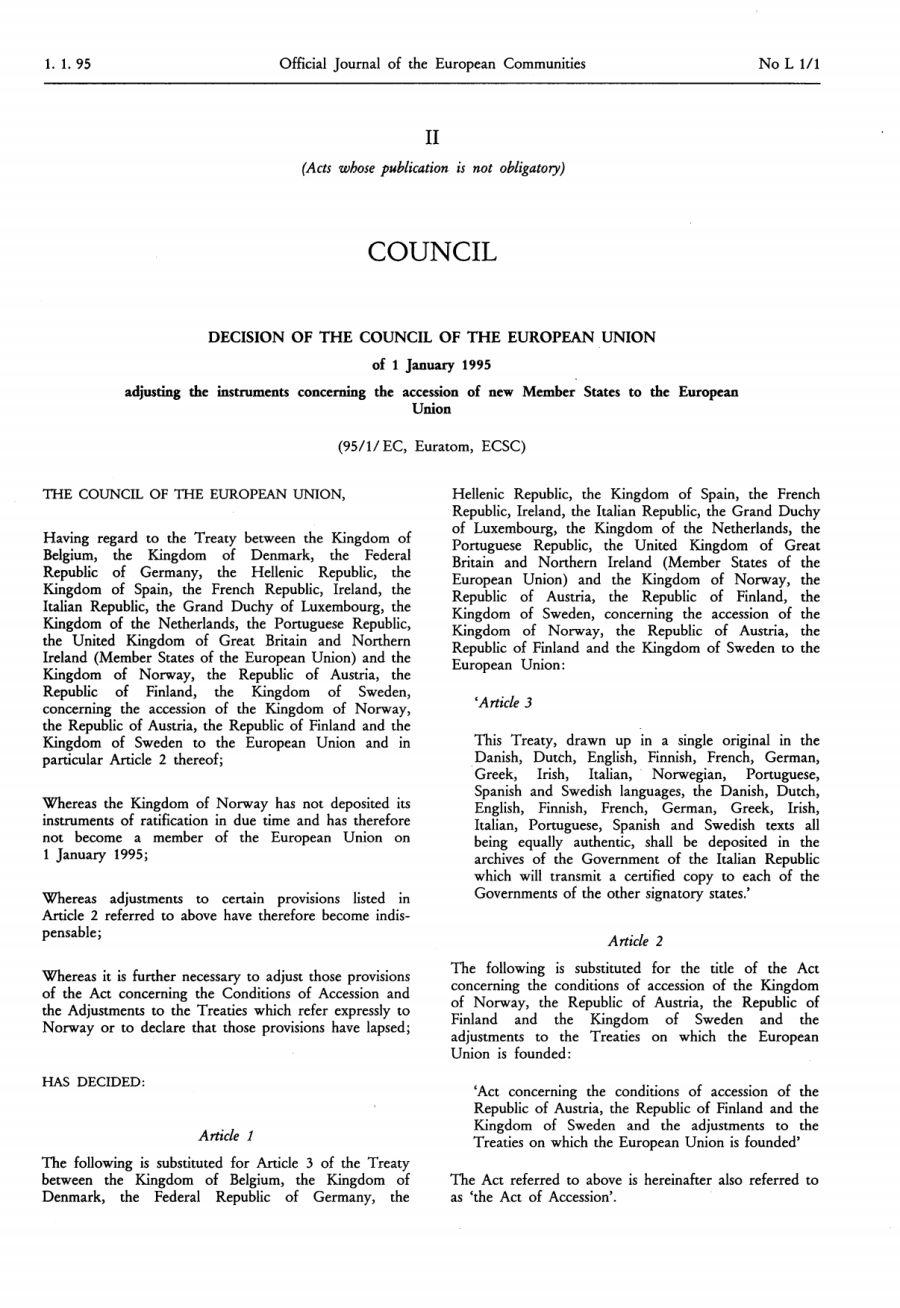 EU-rådets beslutning fra 1. januar 1995.