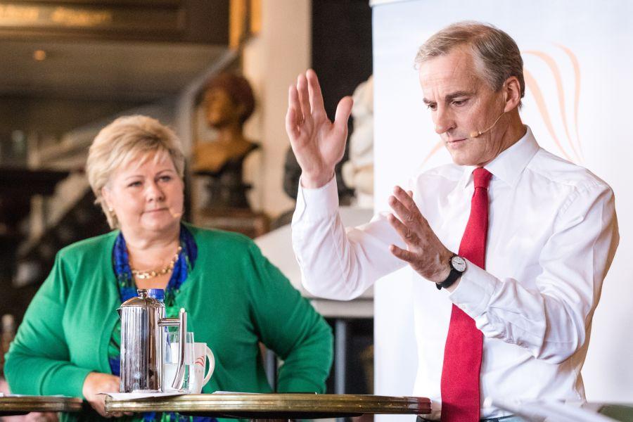 Erna Solberg (H) og Jonas Gahr Støre (Ap) møttes til statsministerduell hos Civita forrige uke.