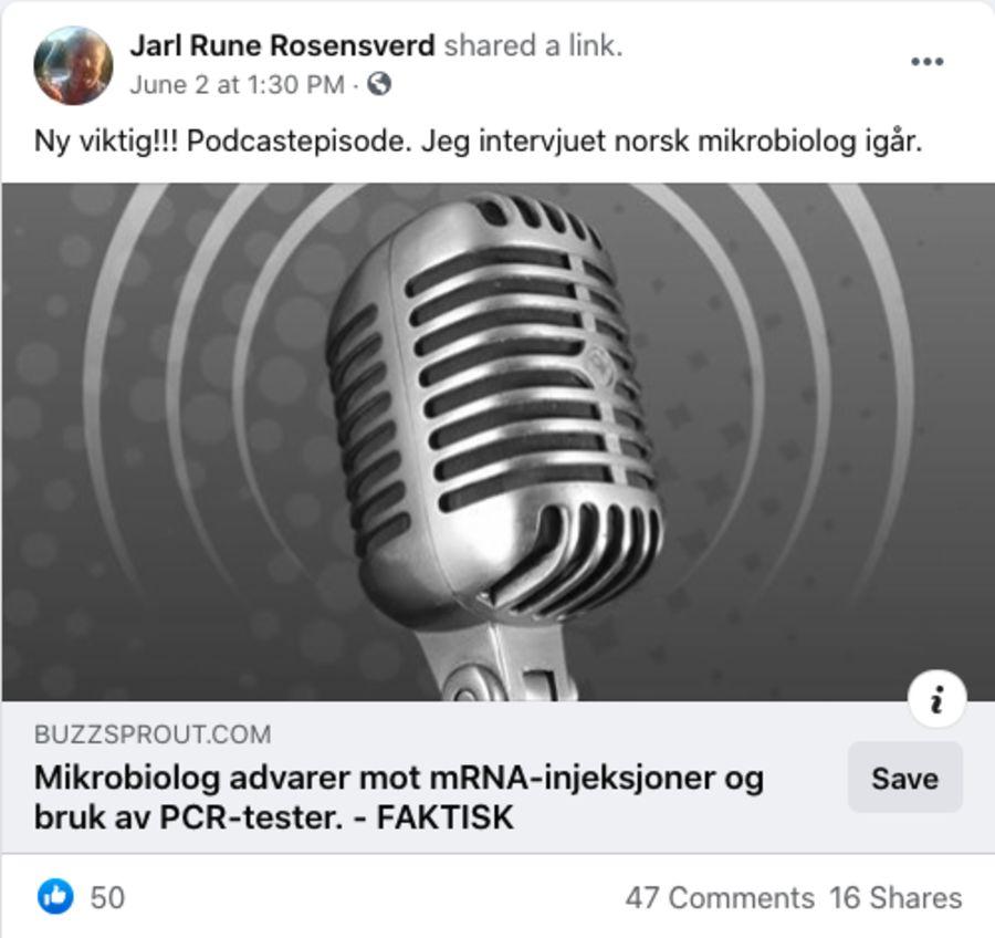 Jarl Rune Nilsson, som kaller seg Rosensverd på Facebook, har blant annet delt podkasten i gruppen Røde Luer. De har arrangert flere av demonstrasjonene foran Stortinget mot myndighetenes koronatiltak.