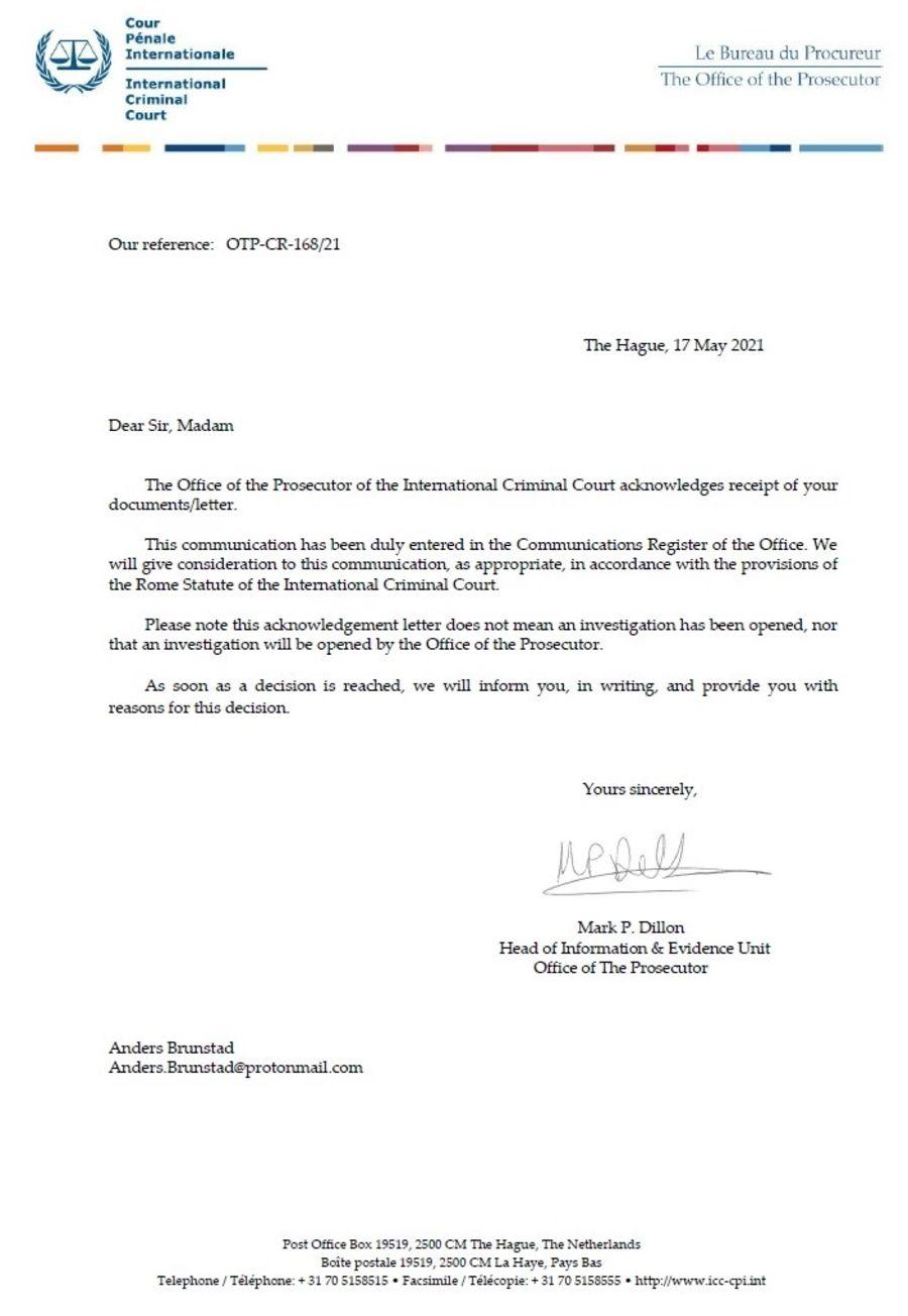 Et svarbrev fra Den internasjonale straffedomstolen (ICC) har blitt lagt ut på Facebook. Dette betyr ikke at det er åpnet etterforskning mot den norske regjeringen.