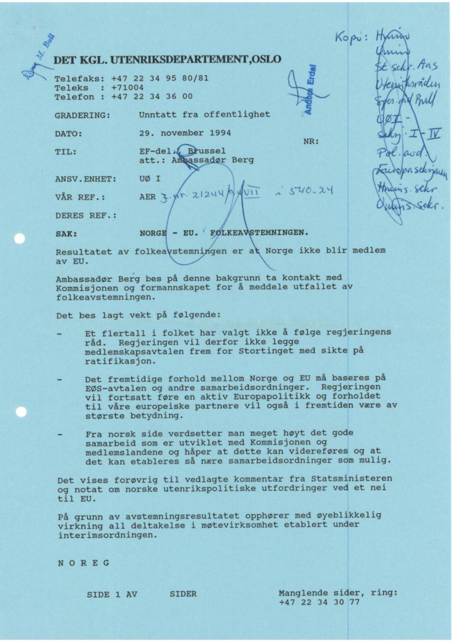 Instruksen som Utenriksdepartementet sendte til EU-ambassadør Eivinn Berg dagen etter at det hadde blitt nei i folkeavstemningen.