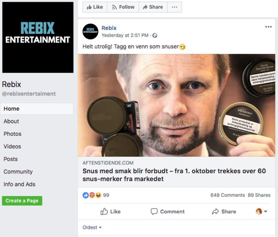 Facebook-siden Rebix er med i det samme nettverket, og deler hyppig saker fra de omtalte løgnfabrikkene.