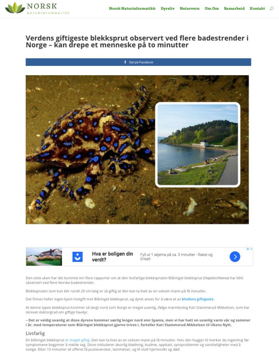 Slik ser saken fra «Norsk Narurinformatikk» ut.